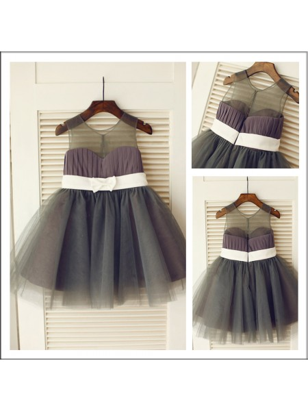 A-Line Scoop Sash/Ribbon/Belt Tulle Flower Girl Dresses