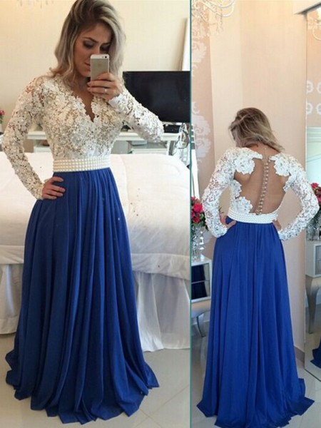 A-Line V-neck Chiffon Floor-Length Pearl Prom Dresses