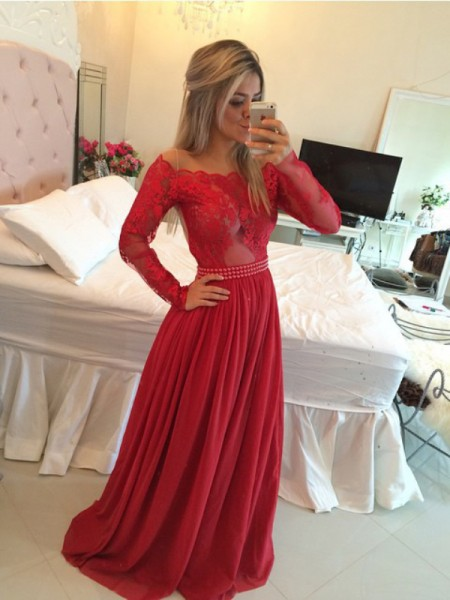 A-Line Off-the-Shoulder Chiffon Sweep/Brush Train Applique Prom Dresses