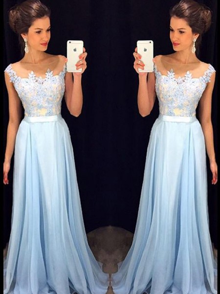 A-Line Sheer Neck Applique Chiffon Sweep/Brush Train Prom Dresses