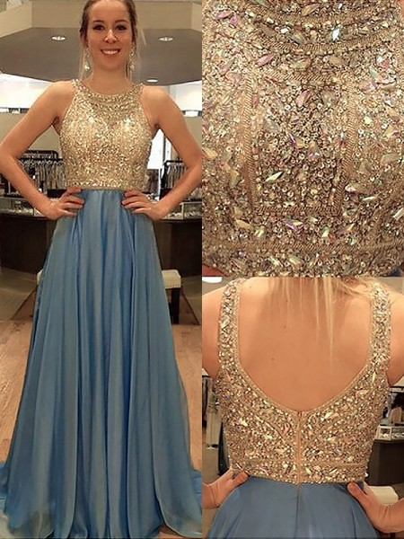 A-Line Scoop Chiffon Beading Sweep/Brush Train Prom Dresses