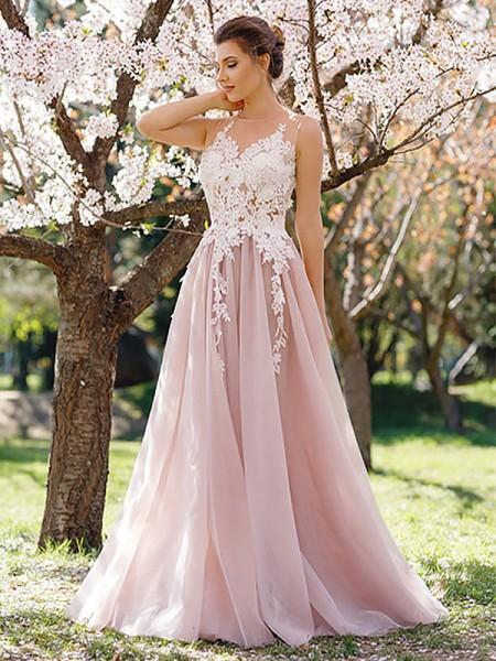 A-Line Jewel Floor-Length Applique Tulle Prom Dresses