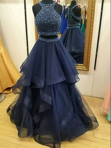 A-Line Halter Tulle Beading Floor-Length Two Piece Prom Dresses