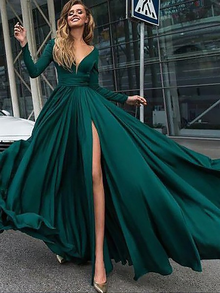A-Line V-Neck Floor-Length Ruffles Satin Chiffon Prom Dresses