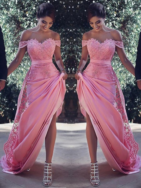 Sheath Off-the-Shoulder Sweep/Brush Train Silk Like Satin Prom Dresses