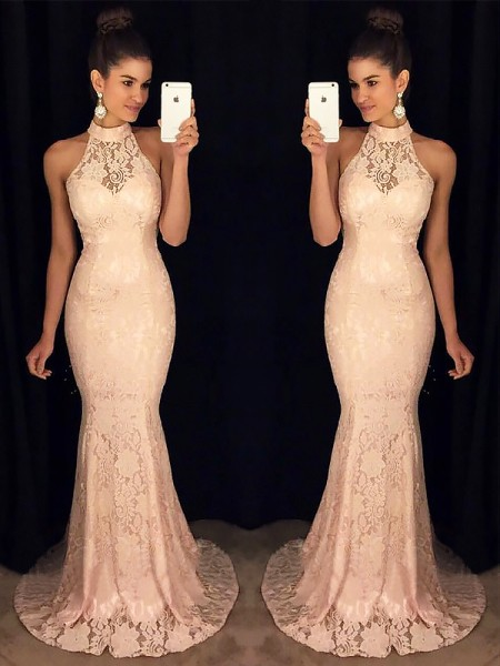 Mermaid High Neck Sweep/Brush Train Ruffles Lace Prom Dresses