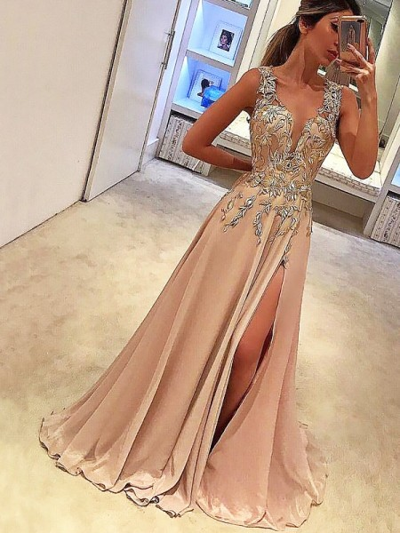 A-Line V-neck Floor-Length Applique Silk like Satin Prom Dresses