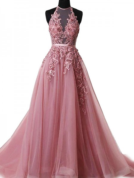 A-Line Halter Sweep/Brush Train Applique Tulle Prom Dresses