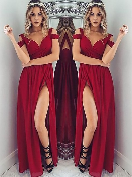 A-Line Off-the-Shoulder Floor-Length Ruched Chiffon Prom Dresses