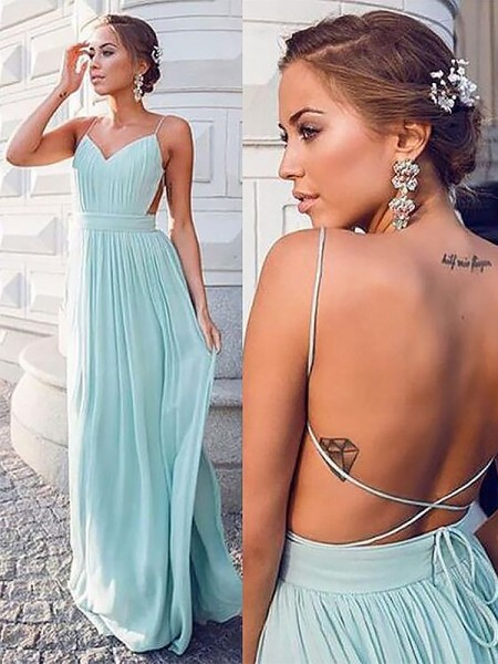 Spaghetti Straps Floor-Length With Ruched Chiffon A-Line Prom Dresses