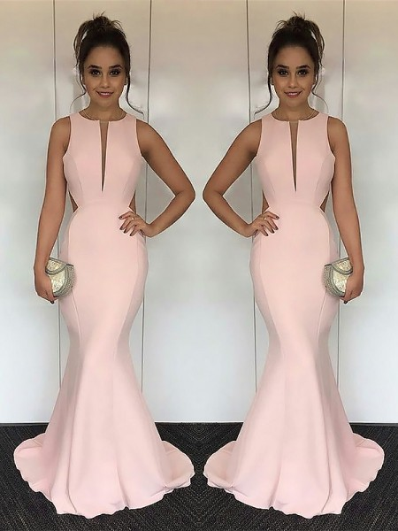 Jewel Sweep/Brush Train With Ruched Satin Mermaid Prom Dresses