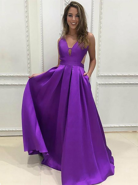 V-neck Sweep Train With Ruffles Satin A-Line Prom Dresses