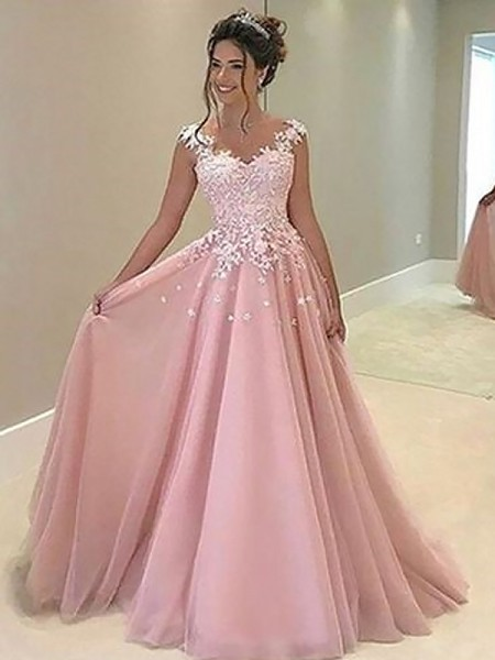 A-Line Sweetheart Floor-Length Applique Tulle Prom Dresses