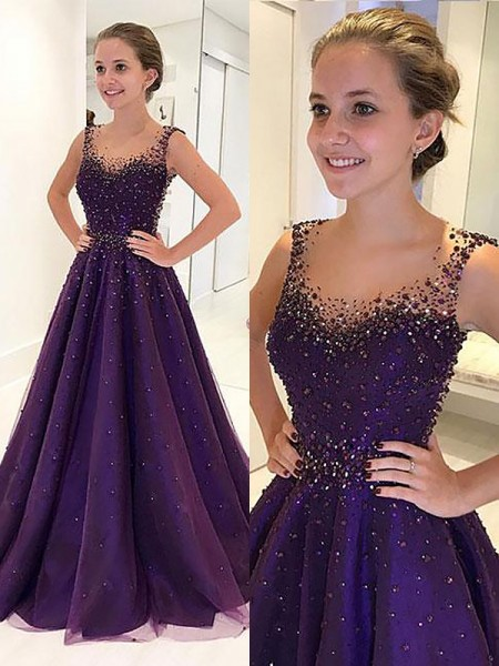 A-Line Scoop Floor-Length Tulle Beading Prom Dresses