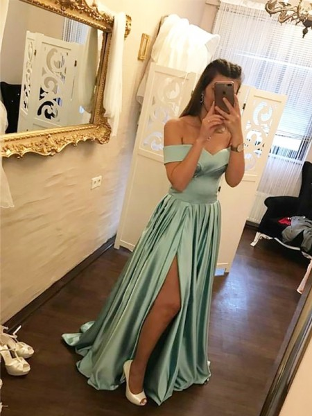 A-Line Off-the-Shoulder Sweep/Brush Train Ruffles Satin Prom Dresses