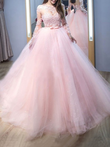 Jewel Sweep/Brush Train Lace Tulle Ball Gown Prom Dresses