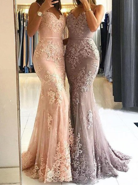 Sheath Spaghetti Straps Sweep/Brush Train With Lace Tulle Prom Dresses