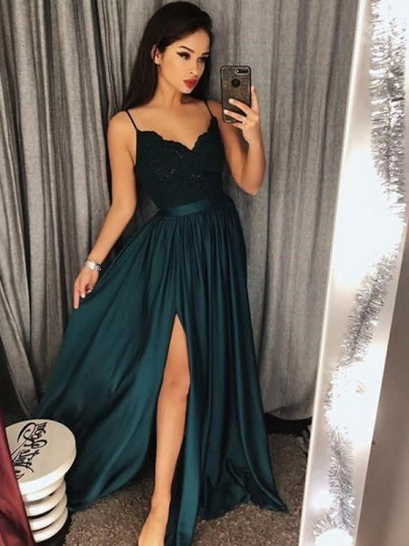 A-Line Spaghetti Straps Floor-Length With Lace Silk like Satin Prom Dresses