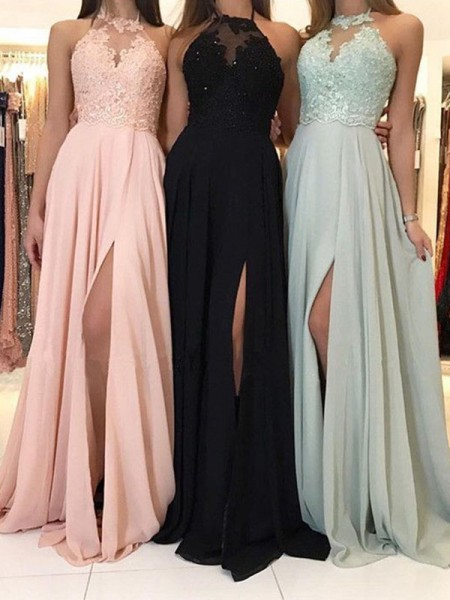 A-Line Halter Applique Ruched Sweep/Brush Train Chiffon Prom Dresses
