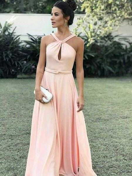 A-Line Halter Floor-Length Ruched Chiffon Prom Dresses