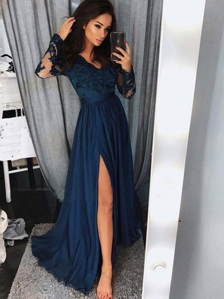 A-Line V-neck Sweep/Brush Train Applique Ruched Satin Chiffon Prom Dresses