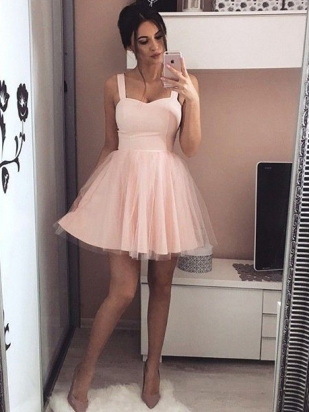 A-Line Satin Straps Ruched Short/Mini Homecoming Dresses