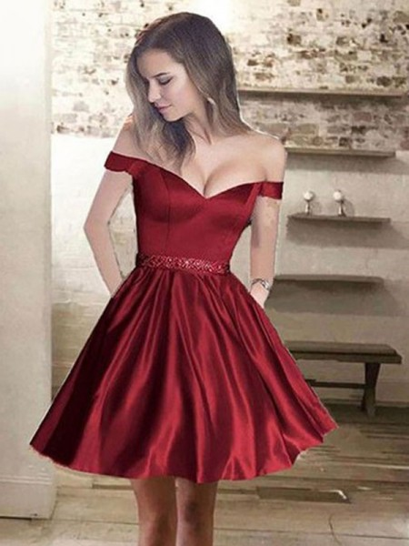 A-Line Off-the-Shoulder Satin Beading Short/Mini Homecoming Dresses