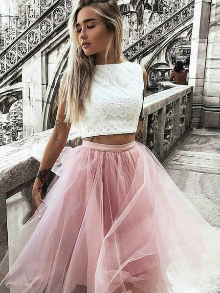 A-Line Tulle Bateau Lace Knee-Length Two Piece Homecoming Dresses
