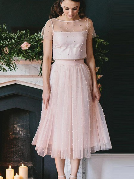 A-Line Tulle Scoop Tea-Length Two Piece Homecoming Dresses