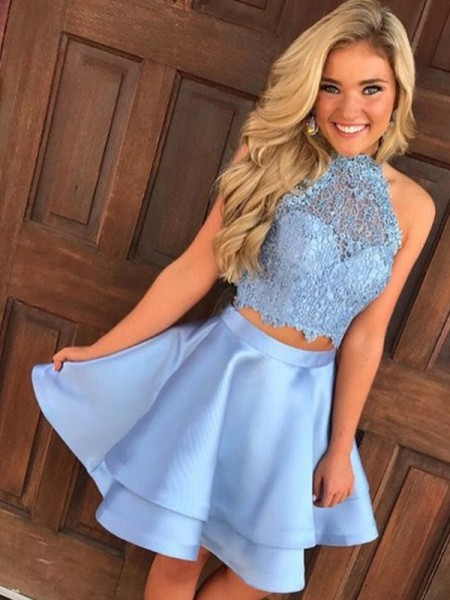 A-Line Satin Lace Halter Short/Mini Two Piece Homecoming Dresses