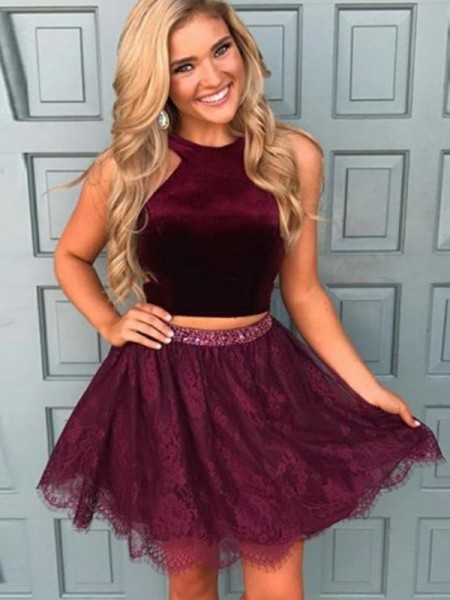 A-Line Lace Satin Halter Two Piece Short/Mini Homecoming Dresses