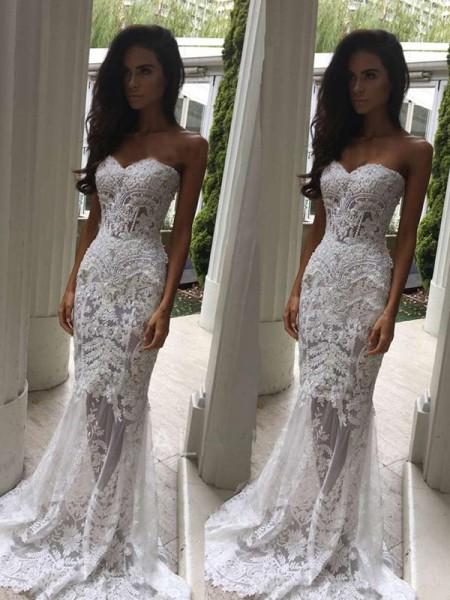 Mermaid Sweetheart Court Train Applique Lace Wedding Dresses