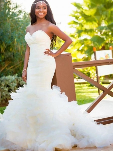 Mermaid Sweetheart Court Train Organza Wedding Dresses