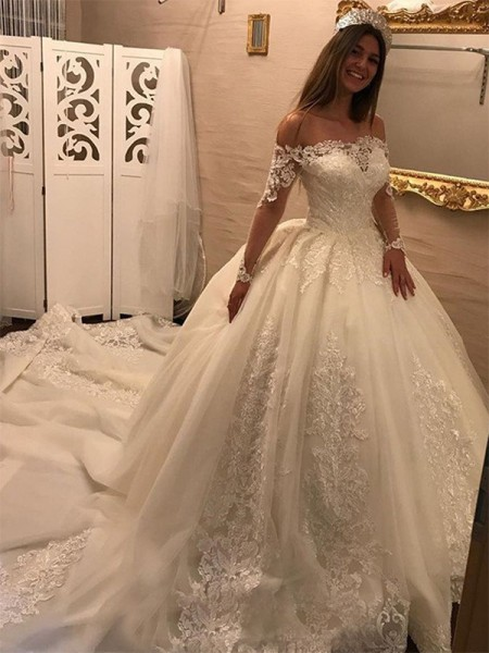 Off-the-Shoulder Cathedral Train Applique Tulle Ball Gown Wedding Dresses
