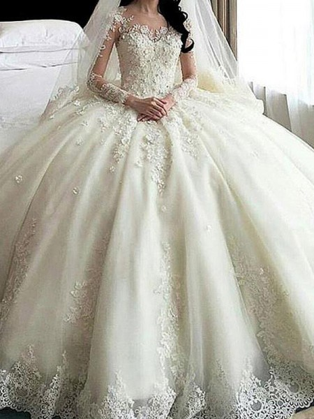 Scoop Cathedral Train Lace Applique Tulle Ball Gown Wedding Dresses