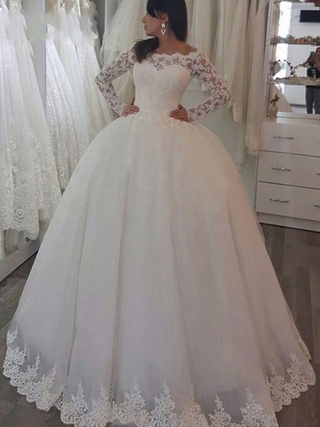 Off-the-Shoulder Sweep/Brush Train Applique Lace Ball Gown Wedding Dresses