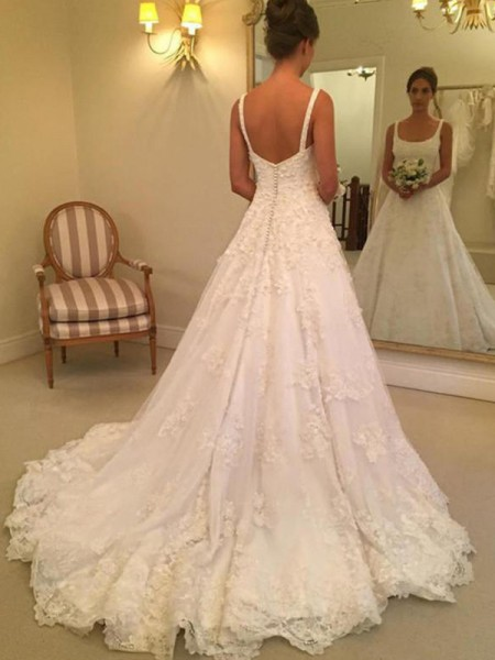 A-Line Straps Square Court Train Applique Lace Ball Gown Wedding Dresses