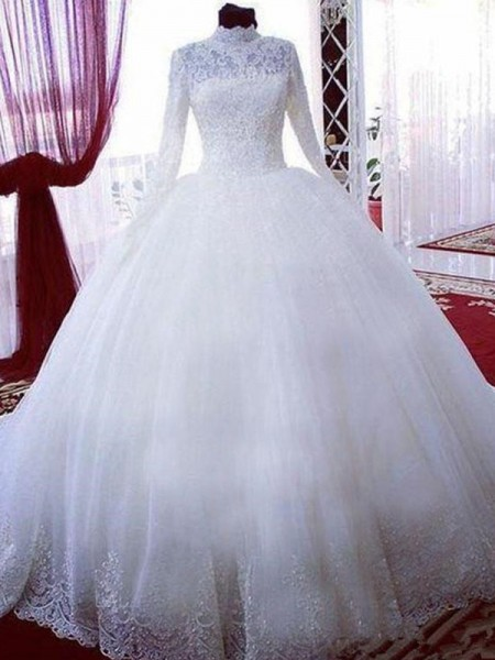 Lace Tulle High Neck Chapel Train Ball Gown Wedding Dresses