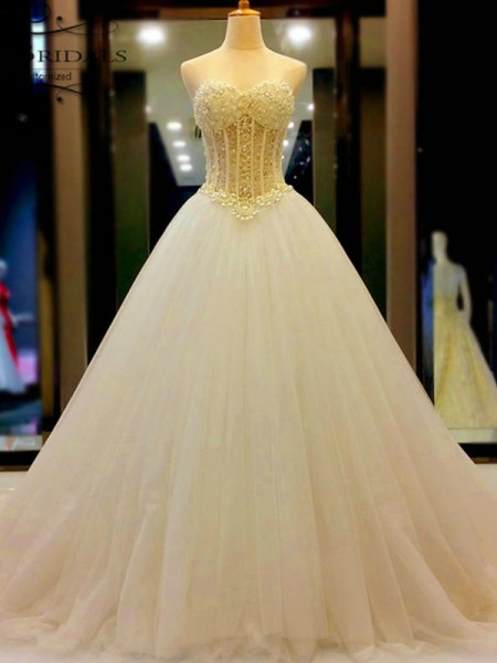 Sweetheart Tulle Beading Court Train Ball Gown Wedding Dresses