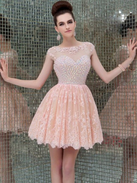 A-Line Scoop Lace Beading Short/Mini Homecoming Dresses