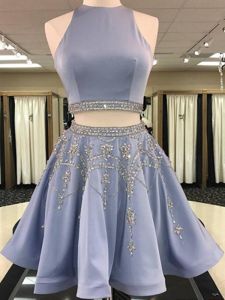 A-Line Bateau Satin Beading Short/Mini Two Piece Homecoming Dresses