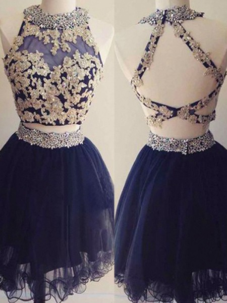 A-Line Halter Tulle Beading Short/Mini Two Piece Homecoming Dresses