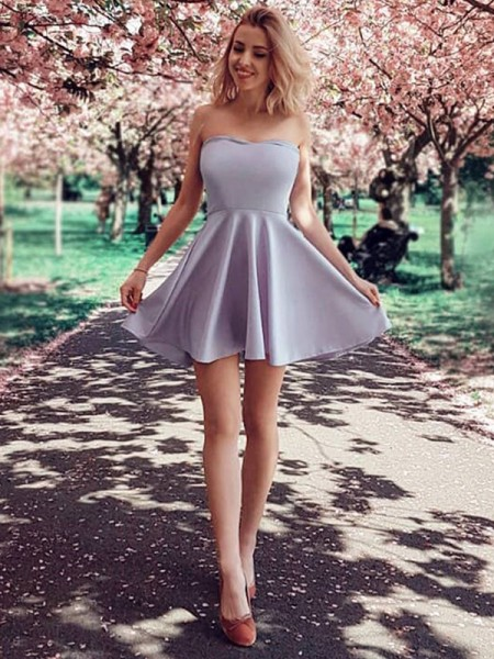 A-Line Ruffles Strapless Satin Short/Mini Homecoming Dresses