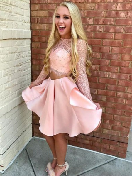A-Line Sheer Neck Satin Lace Short/Mini Two Piece Homecoming Dresses