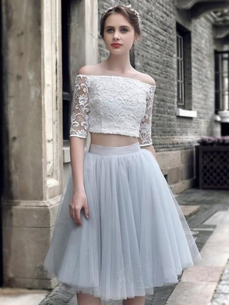 A-Line Tulle Ruched Off-the-Shoulder Knee-Length Two Piece Homecoming Dresses