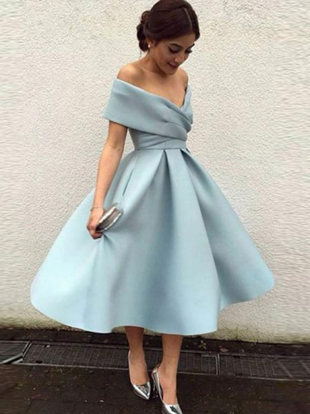 2dcf2a49e54 A-Line Off-the-Shoulder Satin Ruffles Tea-Length Homecoming Dresses ...
