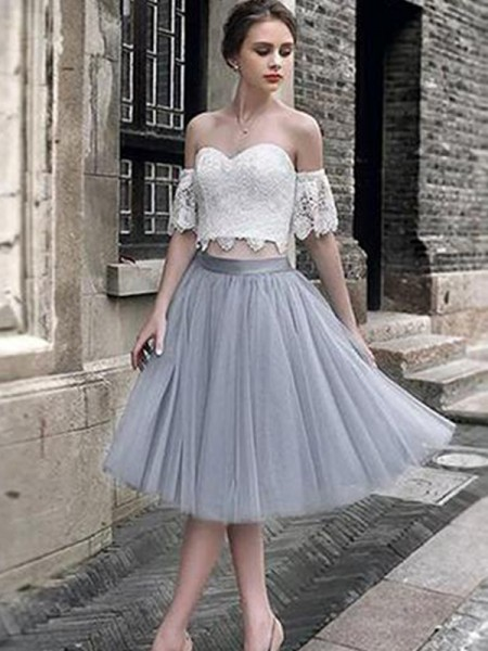 A-Line Lace Sweetheart Tulle Tea-Length Two Piece Homecoming Dresses