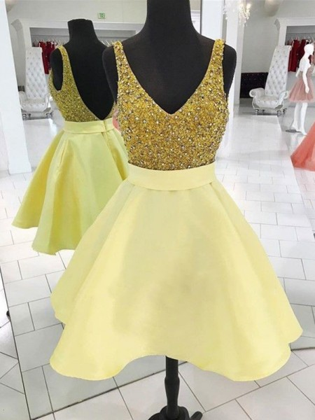 V-neck Cut Short With Beading Satin Yellow A-Line Homecoming Dresses