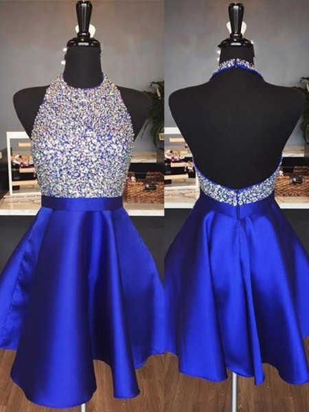 Halter Cut Short With Beading Satin Royal Blue A-Line Homecoming Dresses