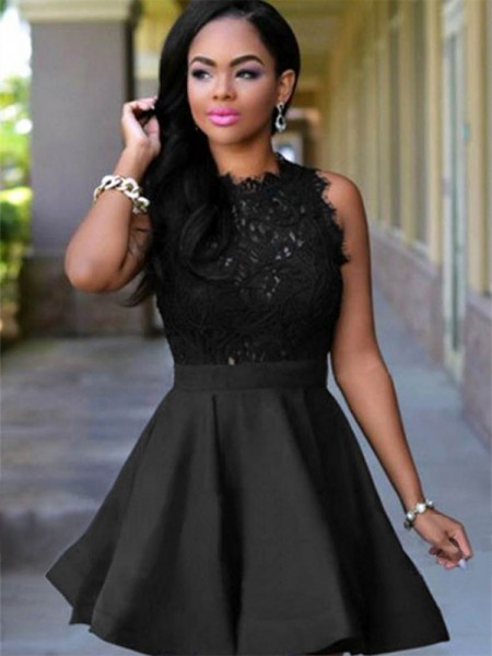 Jewel Cut Short With Lace Satin Black A-Line Homecoming Dresses